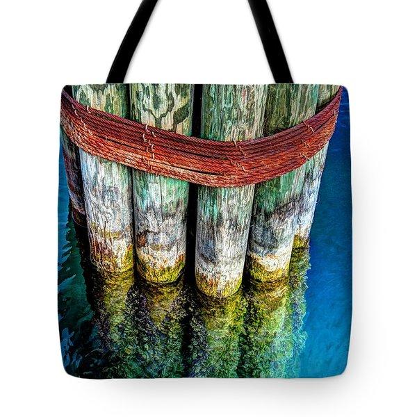 Harbor Dock Posts Tote Bag by Michael Garyet
