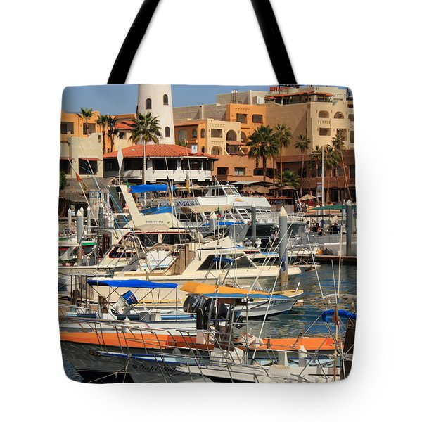 Harbor Waterfront In Cabo San Lucas Tote Bag by Roupen  Baker