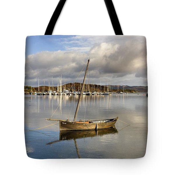 Harbour In Tarbert Scotland, Uk Tote Bag by John Short