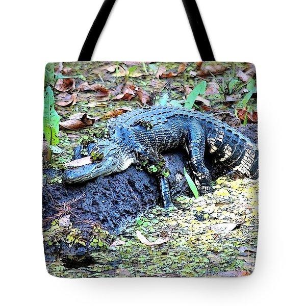 Hard Day In The Swamp - Digital Art Tote Bag by Carol Groenen