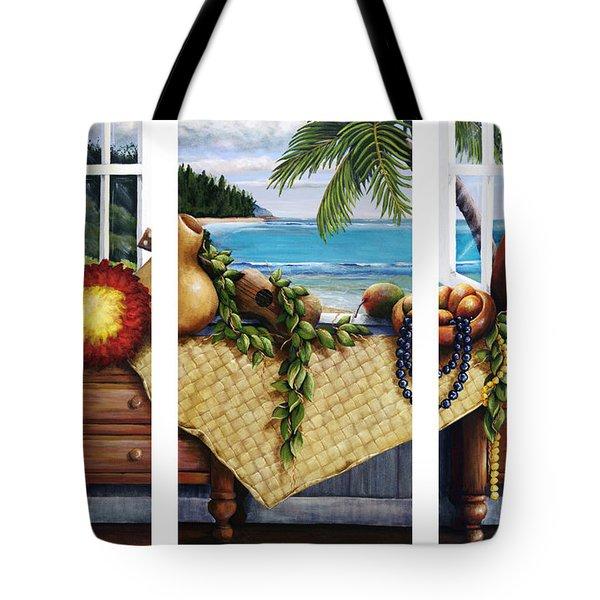 Hawaiian Still Life with Haleiwa on My Mind Tote Bag by Sandra Blazel - Printscapes