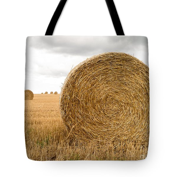 Hay Bales Tote Bag by Edward Fielding