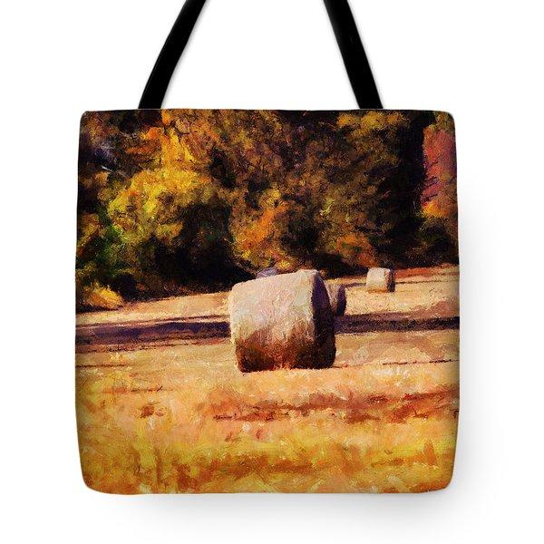 Hay Bales Tote Bag by Jai Johnson