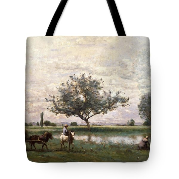 Haycart Beside A River  Tote Bag by Jean Baptiste Camille Corot