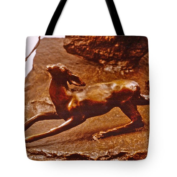 He Who Saved the Deer - deer detail Tote Bag by Dawn Senior-Trask