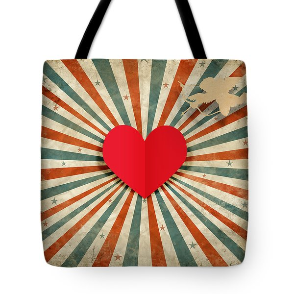 heart and cupid with ray background Tote Bag by Setsiri Silapasuwanchai