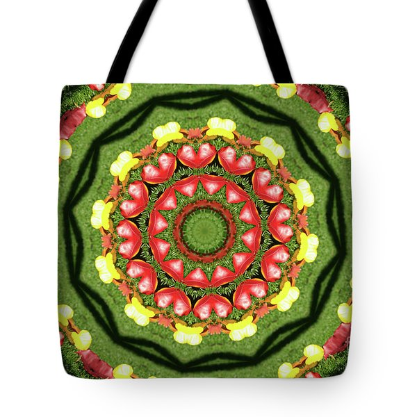 Heart Kaleidoscope Tote Bag by Mariola Bitner