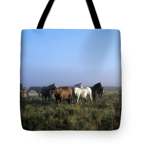 Herd Of Horses And Cowboy On Horseback Tote Bag by Natural Selection Craig Tuttle