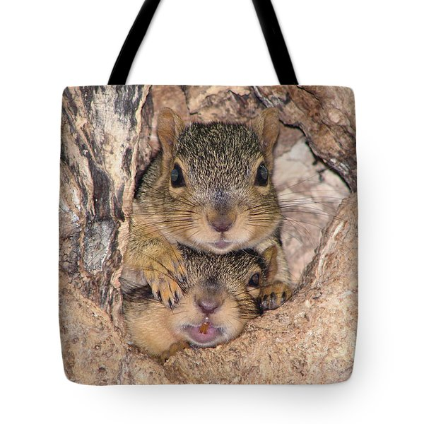 Hey I Cant See Tote Bag by Lori Tordsen