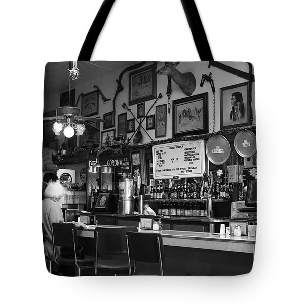 Historic Niles District in California Near Fremont . Bronco Billys Pizza Palace . 7D10707 . bw Tote Bag by Wingsdomain Art and Photography