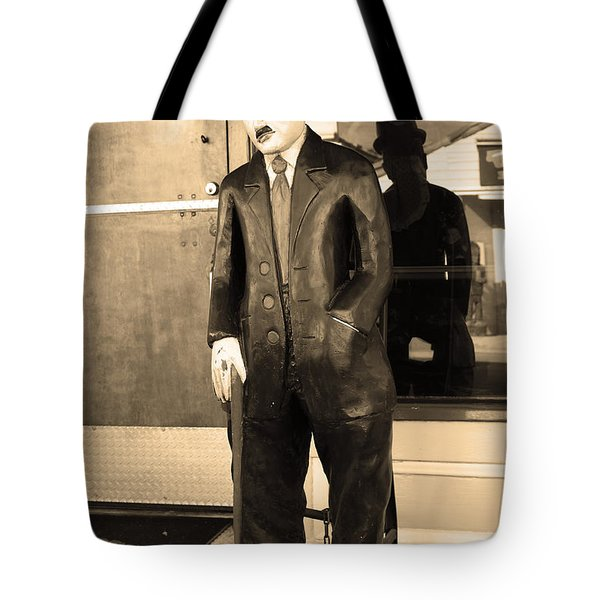 Historic Niles District In California Near Fremont . Charlie Chaplin Statue At The Florence Bar . Se Tote Bag by Wingsdomain Art and Photography