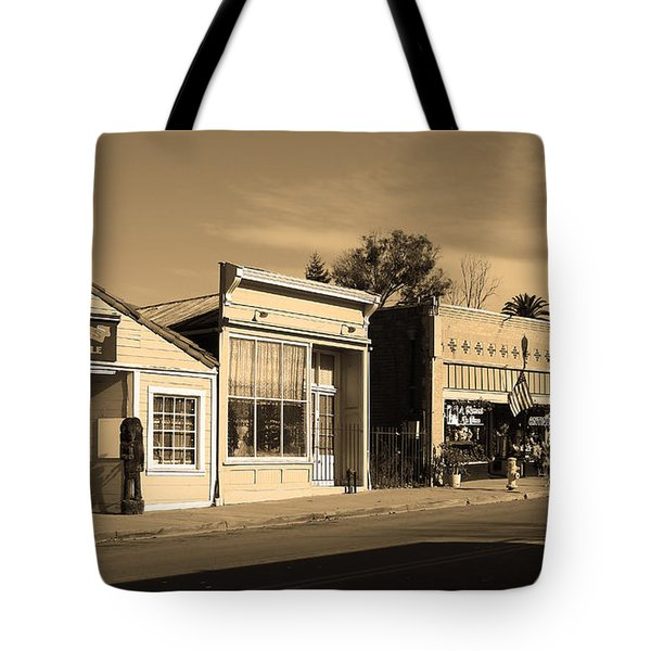 Historic Niles District in California Near Fremont . Main Street . Niles Boulevard . 7D10676 . sepia Tote Bag by Wingsdomain Art and Photography