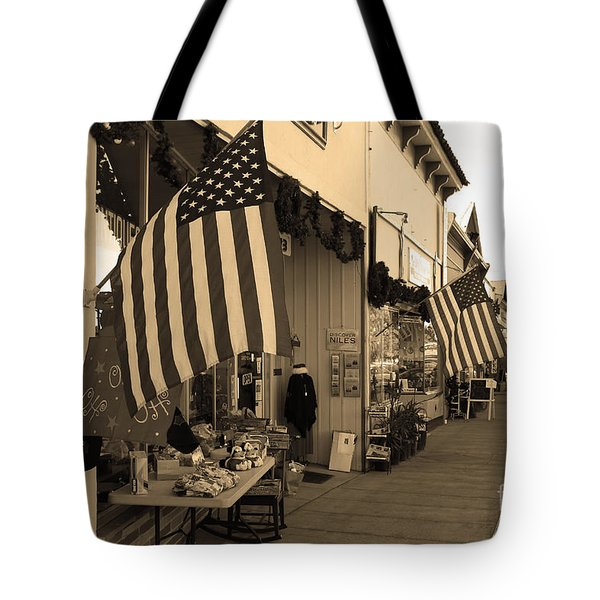 Historic Niles District in California Near Fremont . Main Street . Niles Boulevard . 7D10692 . sepia Tote Bag by Wingsdomain Art and Photography