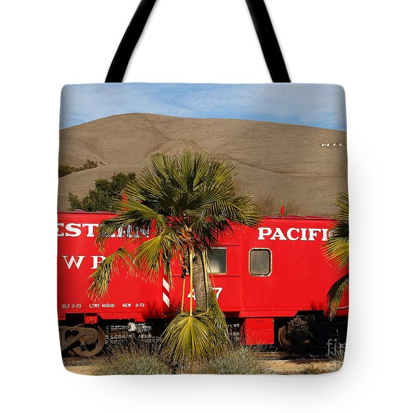 Historic Niles District in California Near Fremont . Western Pacific Caboose Train . 7D10718 Tote Bag by Wingsdomain Art and Photography