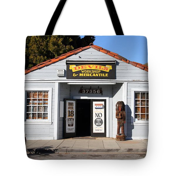 Historic Niles District In California.motorized Bike Outside Devils Workshop And Mercantile.7d12727 Tote Bag by Wingsdomain Art and Photography