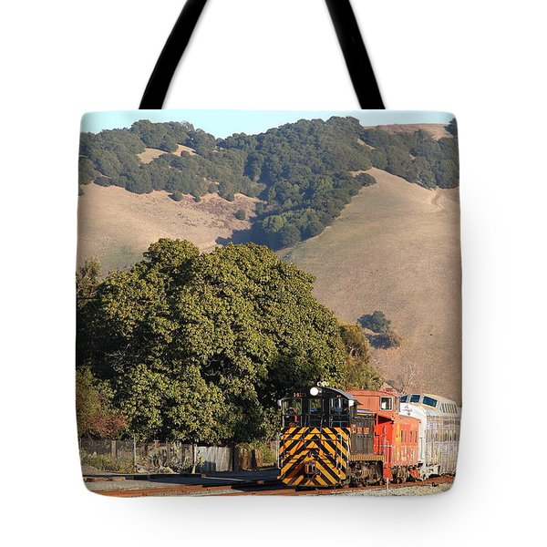 Historic Niles Trains In California . Old Southern Pacific Locomotive And Sante Fe Caboose . 7d10817 Tote Bag by Wingsdomain Art and Photography