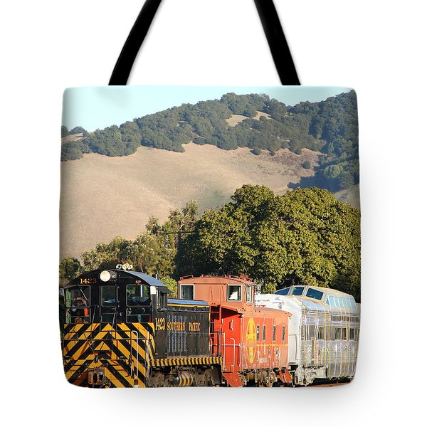 Historic Niles Trains in California . Old Southern Pacific Locomotive and Sante Fe Caboose . 7D10819 Tote Bag by Wingsdomain Art and Photography