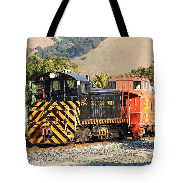 Historic Niles Trains In California . Old Southern Pacific Locomotive And Sante Fe Caboose . 7d10821 Tote Bag by Wingsdomain Art and Photography