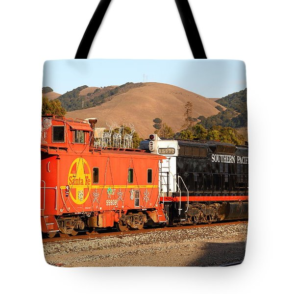 Historic Niles Trains in California . Old Southern Pacific Locomotive and Sante Fe Caboose . 7D10843 Tote Bag by Wingsdomain Art and Photography