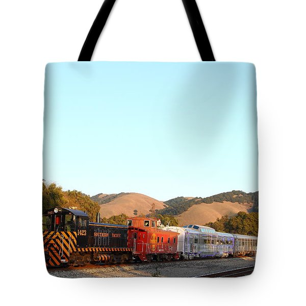 Historic Niles Trains in California . Old Southern Pacific Locomotive and Sante Fe Caboose . 7D10869 Tote Bag by Wingsdomain Art and Photography