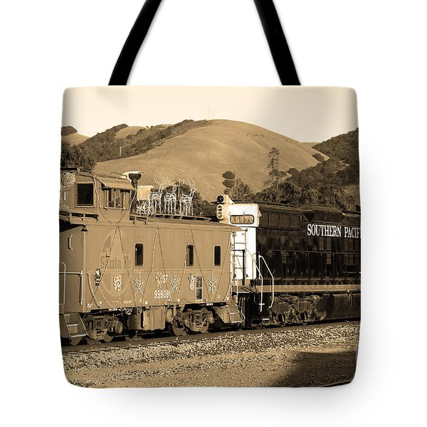 Historic Niles Trains In California.southern Pacific Locomotive And Sante Fe Caboose.7d10843.sepia Tote Bag by Wingsdomain Art and Photography