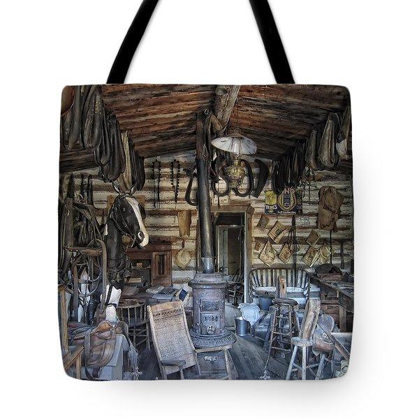 HISTORIC SADDLERY SHOP - MONTANA TERRITORY Tote Bag by Daniel Hagerman