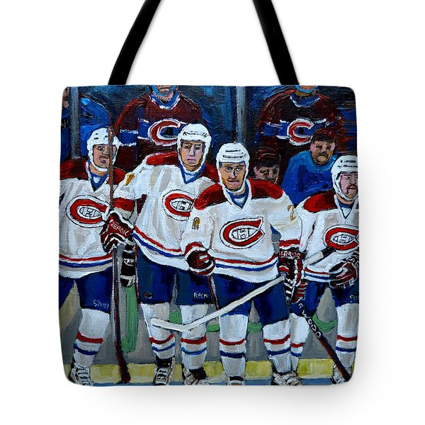 HOCKEY ART AT BELL CENTER MONTREAL Tote Bag by CAROLE SPANDAU