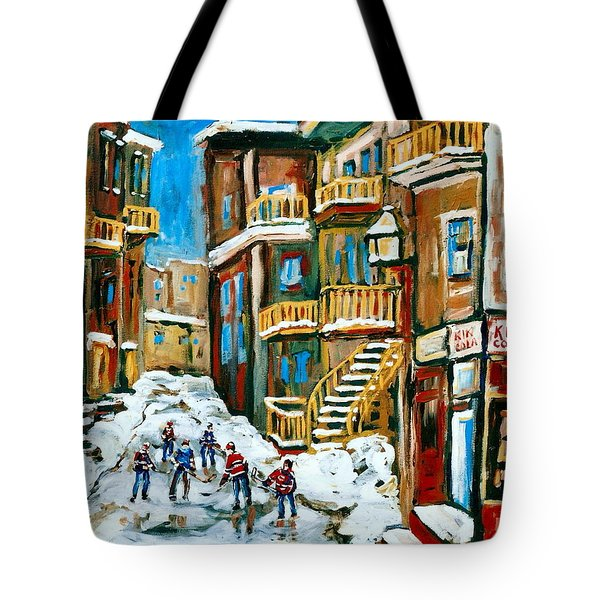 Hockey Art In Montreal Tote Bag by Carole Spandau