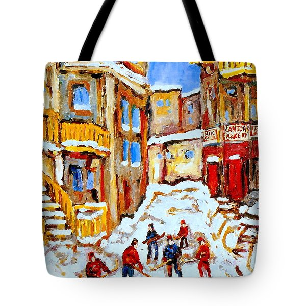 HOCKEY ART MONTREAL CITY STREETS BOYS PLAYING HOCKEY Tote Bag by CAROLE SPANDAU
