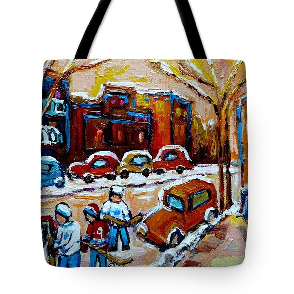 Hockey Art Montreal Staircases In Winter Tote Bag by Carole Spandau