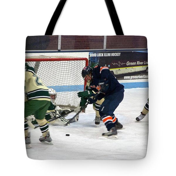 Hockey One On Four Tote Bag by Thomas Woolworth