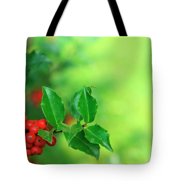 Holly Branch Tote Bag by Carlos Caetano
