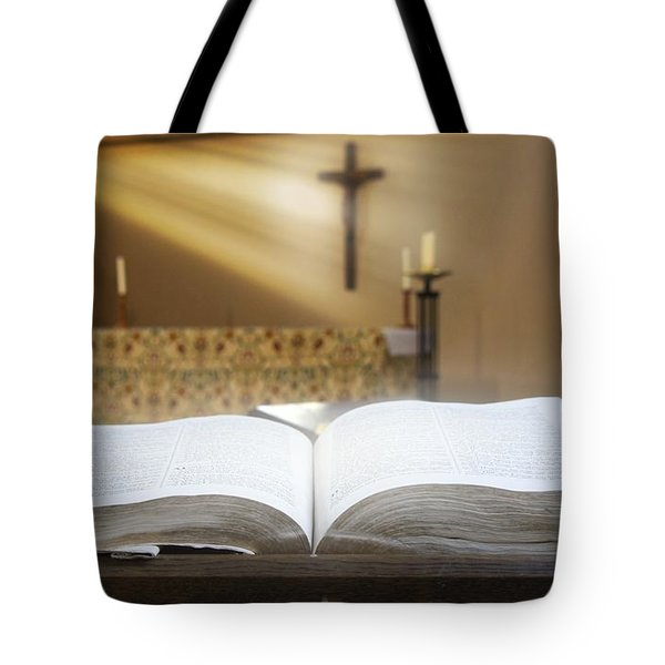 Holy Bible In A Church Tote Bag by John Short