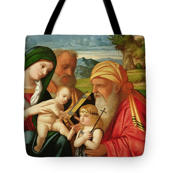Holy Family With St. Simeon And John The Baptist Tote Bag by Francesco Rizzi da Santacroce