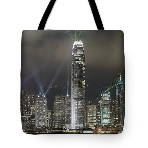 Hong Kong Light Show, At Night, Over Tote Bag by Axiom Photographic