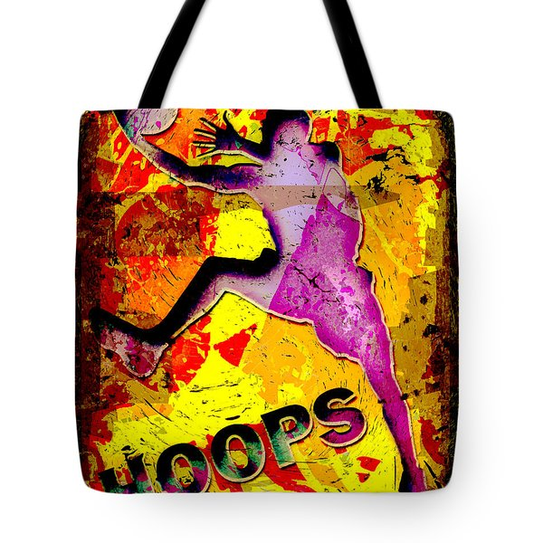 Hoops Basketball Player Abstract Tote Bag by David G Paul