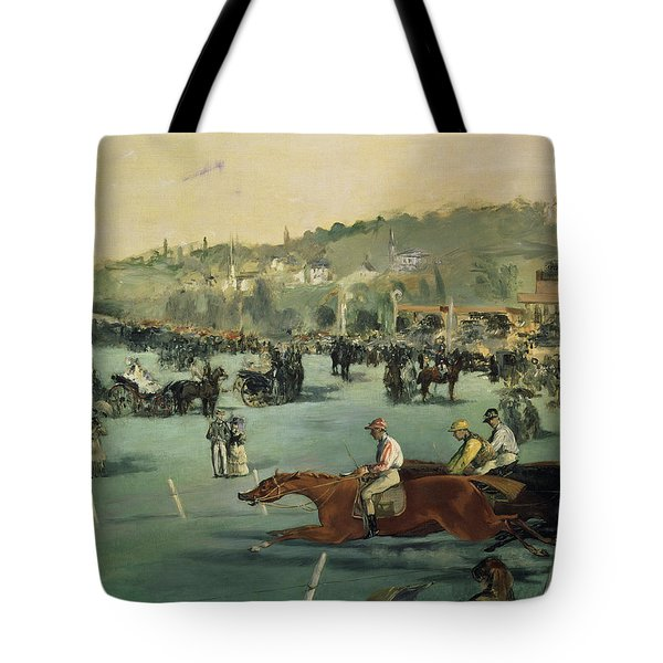 Horse Racing Tote Bag by Edouard Manet