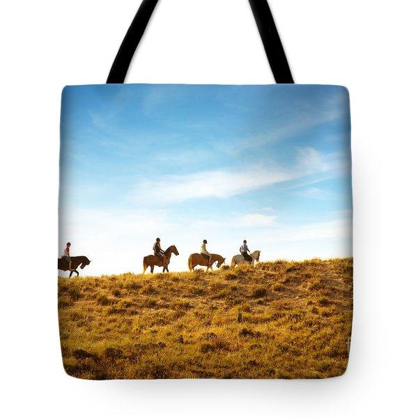 horseback riding Tote Bag by Carlos Caetano