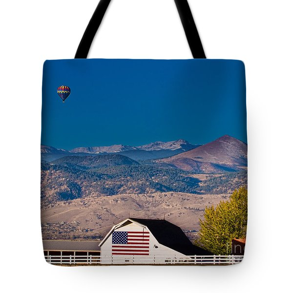 Hot Air Balloon With Usa Flag Barn God Bless The Usa Tote Bag by James BO  Insogna
