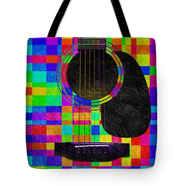 Hour Glass Guitar Random Rainbow Squares Tote Bag by Andee Design