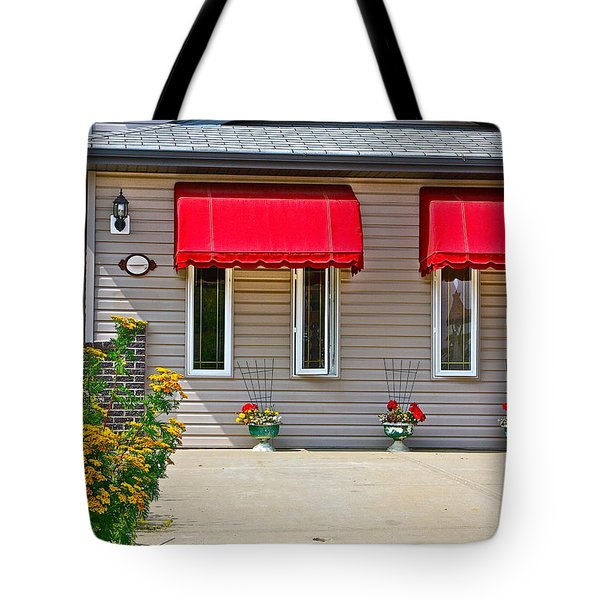 House With Red Shades. Tote Bag by Johanna Bruwer