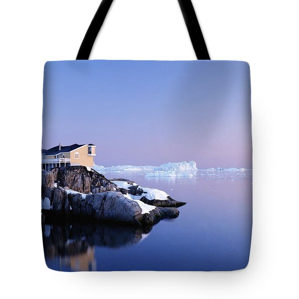 Houses On The Coastline With Icebergs Tote Bag by Axiom Photographic