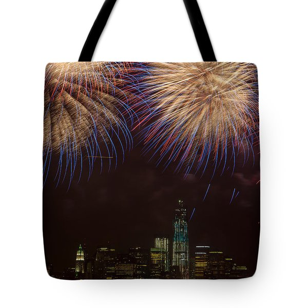Hudson River Fireworks XI Tote Bag by Clarence Holmes