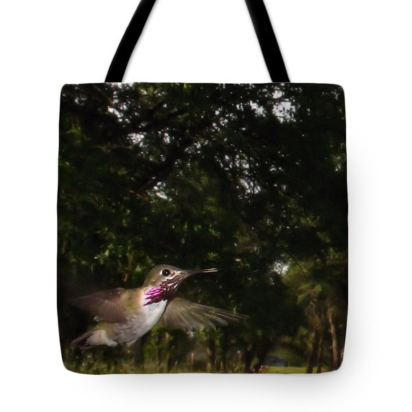 Hummer In Flight Tote Bag by Joyce Dickens