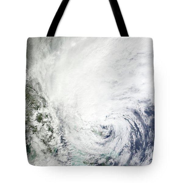 Hurricane Sandy Over The Bahamas Tote Bag by Stocktrek Images