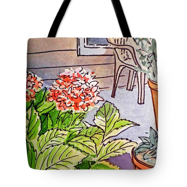 Hydrangea Sketchbook Project Down My Street Tote Bag by Irina Sztukowski