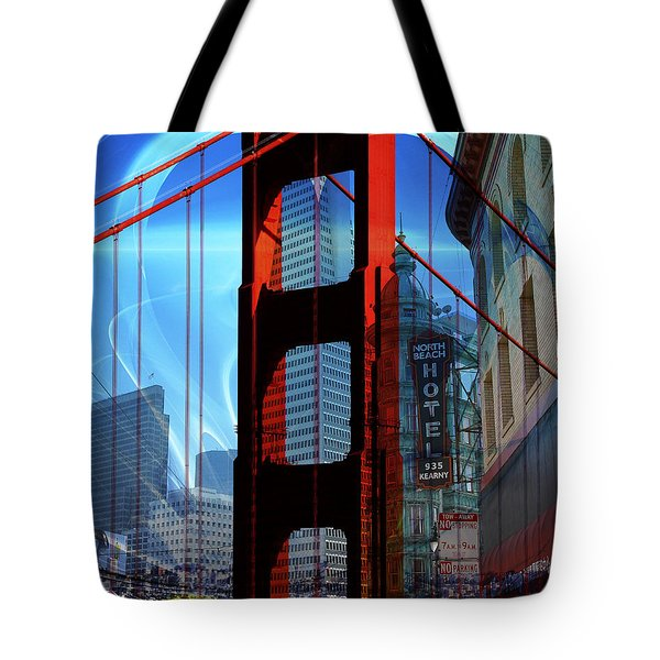 I Left My Heart In San Francisco . Golden Gate Bridge . Transamerica Pyramid . North Beach Tote Bag by Wingsdomain Art and Photography