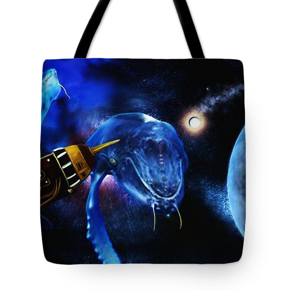 I Think Something Is Out There Tote Bag by Shere Crossman