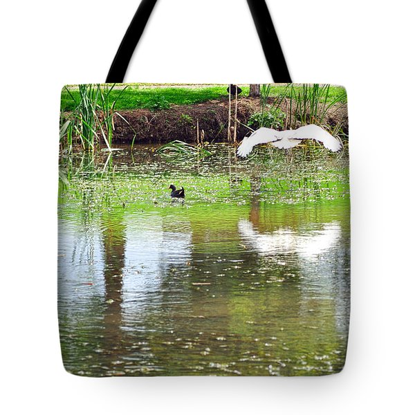 Ibis Over His Reflection Tote Bag by Kaye Menner