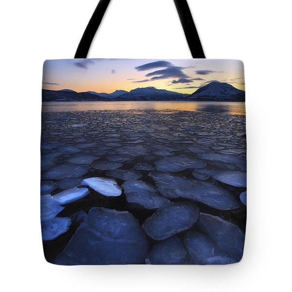 Ice Flakes Drifting Towards Tote Bag by Arild Heitmann
